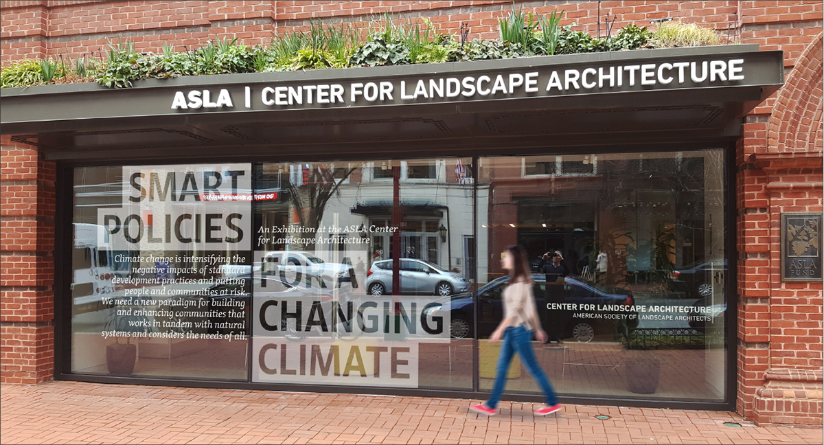 Building exterior of the Smart Policies For A Changing Climate Exhibition at the ASLA Center for Landscape Architecture.