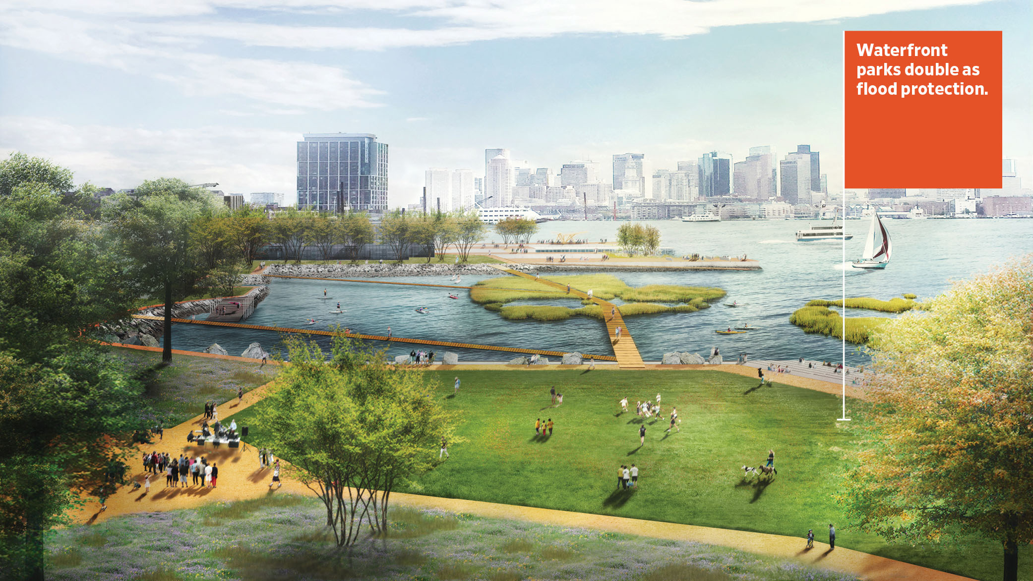Concept for a new central park in East Boston designed to flood in storms, protecting inland homes, businesses, and critical infrastructure.
