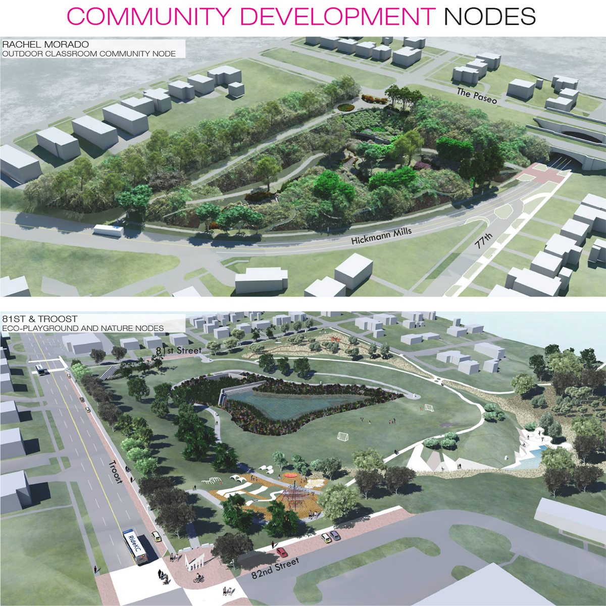 A rendering of Rachel Morado outdoor classroom and an ecoplayground at 81st and Troost.