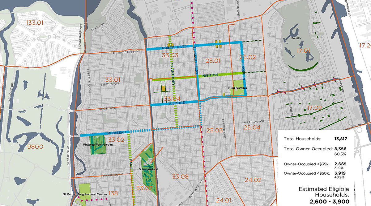 Map showing Gentilly neighborhood in New Orleans where income-eligible homeowners can apply for $25,000 in green infrastructure grants.