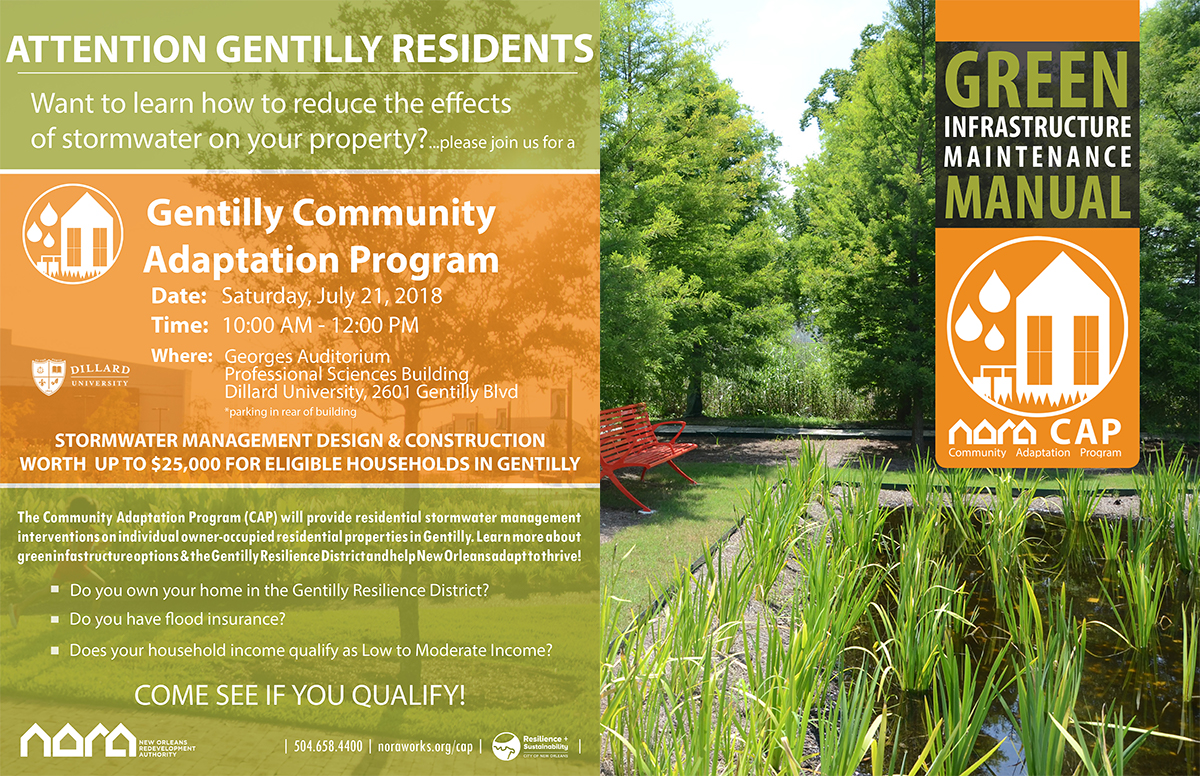 Flyer encouraging residents of Gentilly in New Orleans, Louisiana, to apply for green infrastructure grants, and an image of a homeowner green infrastructure manual.