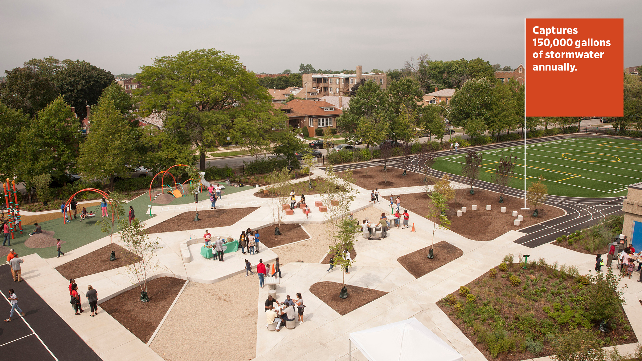 An aerial view of the John W. Cook Academy Space to Grow Schoolyard in Chicago, with gardens in the foreground and sports fields and a play ground in the background.
