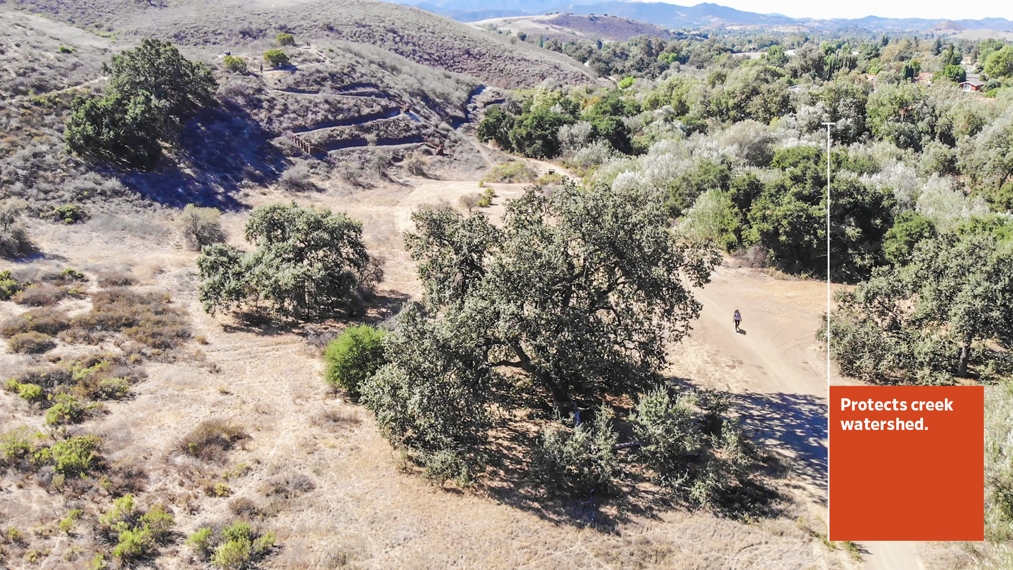 The Sapwi Trails Community Park preserves the beautiful native landscape of Calfornia, seen here, including native oak trees and other shrubs and plants.